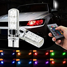 jiuhap store RGB T10-6smd Bulb Remote Control Car Width Light Strobe Light Atmosphere Light-As shown