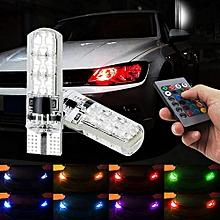 jiuhap store RGB T10-6smd Bulb Remote Control Car Width Light Strobe Light Atmosphere Light-As shown