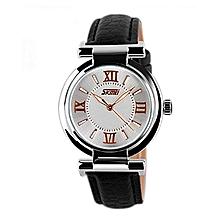 Women Fashion Luxury Dress Watch, 30M Waterproof Leather Strap Quartz Watch 9075