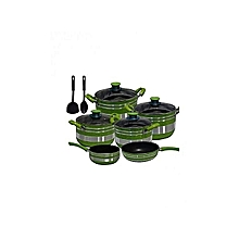 Quality Non Stick Cooking Pot - 12 Pieces - Green & Silver