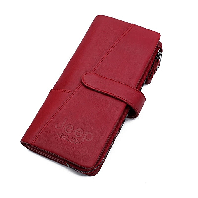 740e89b6cab JEEP BULUO Women Wallets Leather Zipper Coin Purse Fashion Long Red Wallet  Large Capacity Clutch Bag Lady Rfid(Brown)