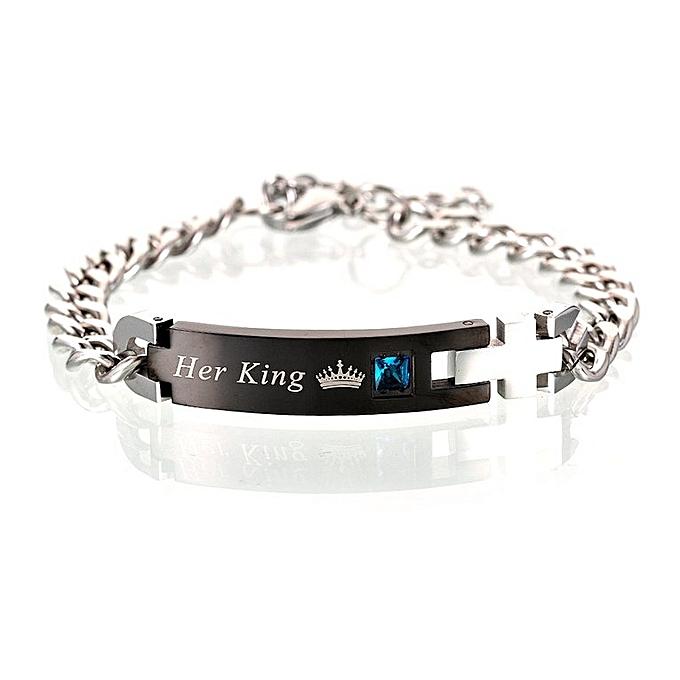 1f8b2dea671 Her King His Queen Couple Bracelets Titanium Stainless Steel For Women Men  black
