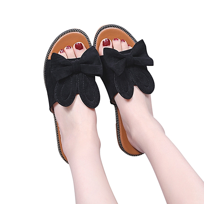 d4207672954a Technologg Shoes Women Fashion Solid Bow Low Heel Flat Bottom Sandals  Slipper Beach Shoes Black-