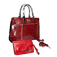 Maroon Faux Leather Tote Bag