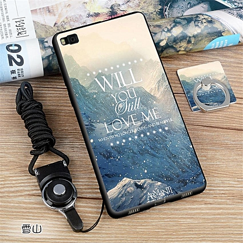 san francisco 61f99 24470 Soft Silicone TPU Painted Phone Case For Huawei P8 / 5.2 Inch(with A Ring  And A Rope)