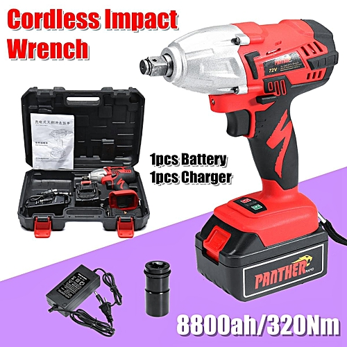 Generic 8800mah 320nm Led Lithium Cordless Impact Wrench Tool With 1 2 Battery Optional