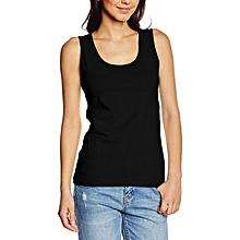 Black 100% Heavy Cotton Lady-Fit Vest Top