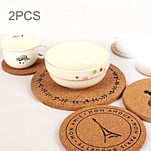 2 PCS Round Tower Pattern Cork Coasters Cup Cushion Holder Drink Cup Place Mat  Coasters Wooden Holder Pad Cup Mat Round Cork Coaster, Size: 19*1cm