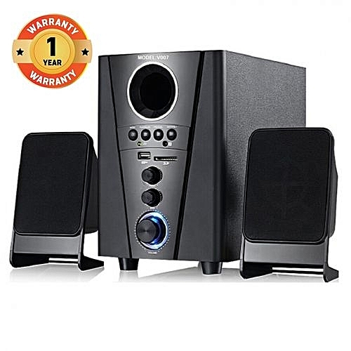 V007 2.1CH Multimedia Speaker System - Black with FM Radio, Built-in amplifier, BT, SD Card Slot and USB device playback