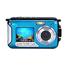 Double Screen Waterproof Camera 24MP 16x Digital Zoom Dive Camera UK-Blue