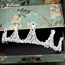 The Bride Wedding Dress Korean Jewelry Accessories Handmade Crystal Beads Headdress Hoop Crown Baroque Ornaments