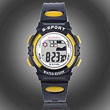 HONHX Africashop Watch  Waterproof Children Boys Digital LED Sports Watch Kids Alarm Date Watch Gift-Yellow