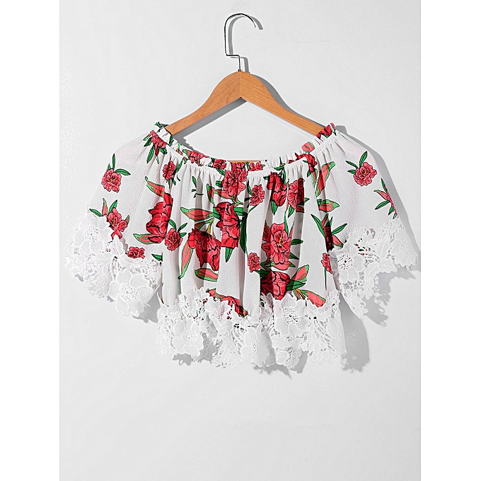 Fashion Shirred Floral Lace Crochet Crop Top At Best Price Jumia Kenya