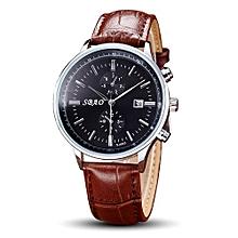 SBAO Fashionable Personality Trends Calendar High-grade Business Belt Watch     - Black