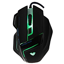 AULA 2000 DPI Professional USB Wired Optical 7 Buttons Self-defining  Gaming Mouse-BLACK