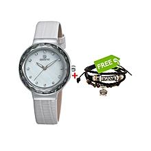 White Ladies Watch With White Dial - Free Bracelet