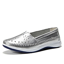 New Casual Shoes Women Genuine Leather Breathable Lady Moccasins (Silver)