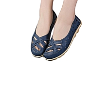 Fashion Large Size Hollow Out Breathable Soft Leather Women Loafers Boat Shoes - Navy Blue
