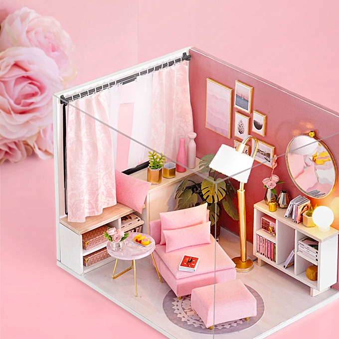 DIY Miniature Dollhouse Kit Realistic Mini 3D Pink Wooden House Room Toy  with Furniture LED Lights Christmas Children's Day Birthday Gift with Dust