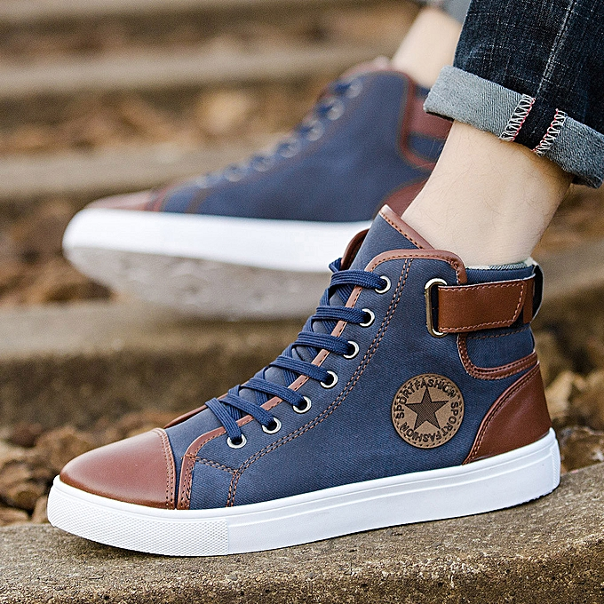 bbd8251018 birthpar store Men Women Causal Shoes Lace-Up Ankle Boots Shoes Casual High  Top Canvas Shoes -Blue