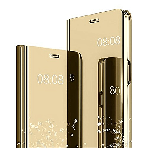 buy online e2915 9467e Samsung Galaxy A9 2018 Leather Case Cover With Plating Mirror And Flip  Stand Function - Gold