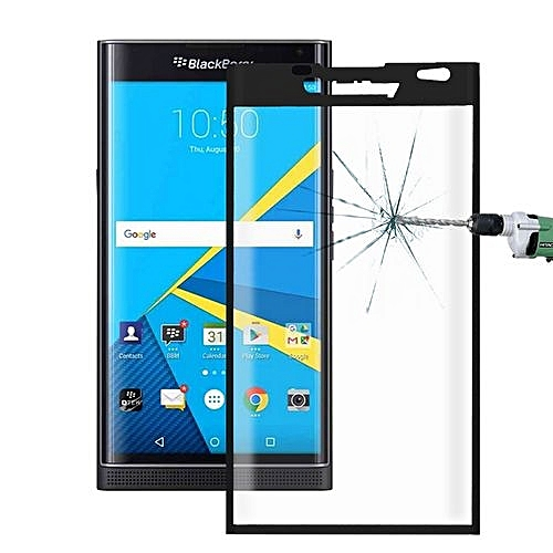 For Blackberry Priv 0.26mm 9H Surface Hardness 3D Curved Explosion-proof Colorized Silk-screen Tempered Glass Full Screen Film(Black)