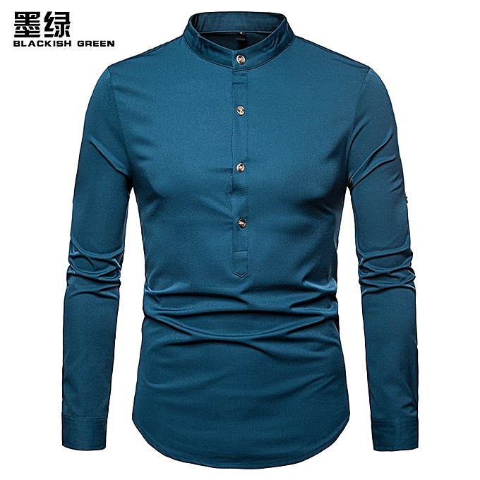 d5e958be7 Fashion Men Shirt Hot Sales Solid colour Henry With Large Size Brand Shirt  Long-Sleeve