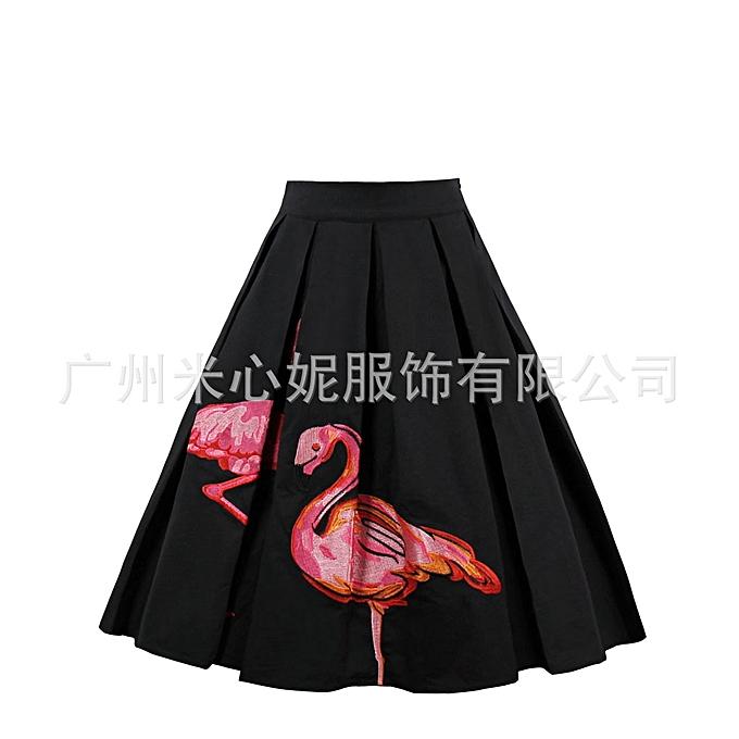 7956d0930c Vintage Bubble Skirt Flower Flamingo Flower Prints Skater Swing Zipper Knee  Midi Women Skirt Plus Size