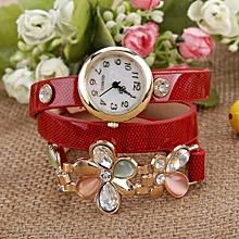 Women's Flower Sling Chain Watch Wrap Circle Button Wristwatch Red