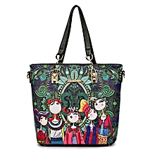 Cartoon Printing Stylish Lady Bag Kit Shoulder Handbag Women Wallet-FOREST GREEN