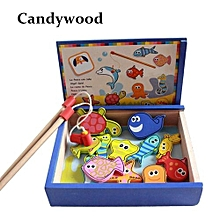 Candywood Baby Kids Wooden Magnetic Fishing Game Board toys Educational Puzzle For Early Childhood learning Undersea World box