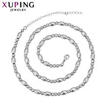 XUPING  Necklace Fashion Ladies 18K Crystal Necklace-  Silver