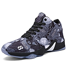 3D Print Men Basketball Shoes Canvas Outdoor Athletic Shoes (Grey)