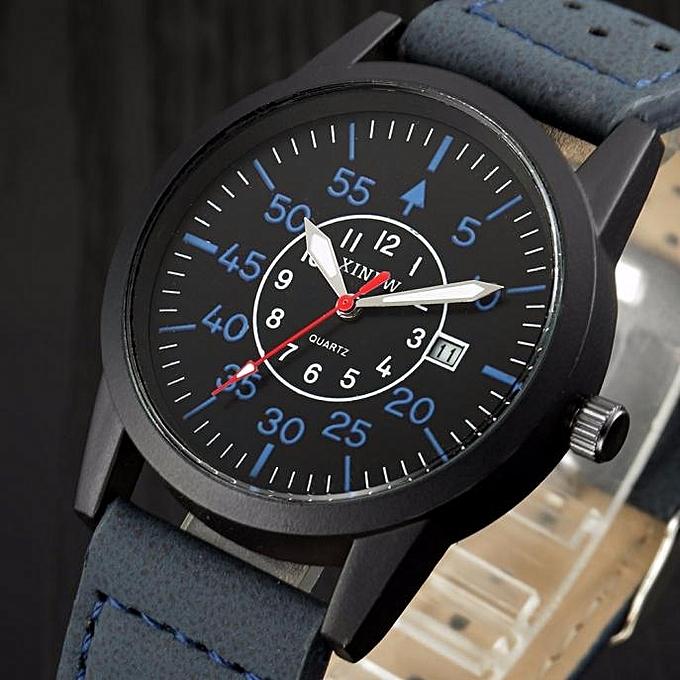 ... Vintage Classic Men's Waterproof Date Leather Strap Sport Quartz Army Watch BU-Blue
