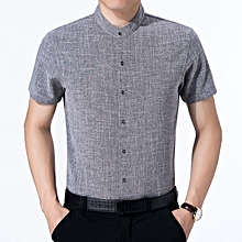 Summer Soft Comfy Cotton Band Collar Short Sleeve Shirts for Men