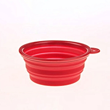 Collapsible Dog Bowl Food Grade Silicone Cup for Pet Food Feeding Bowl red