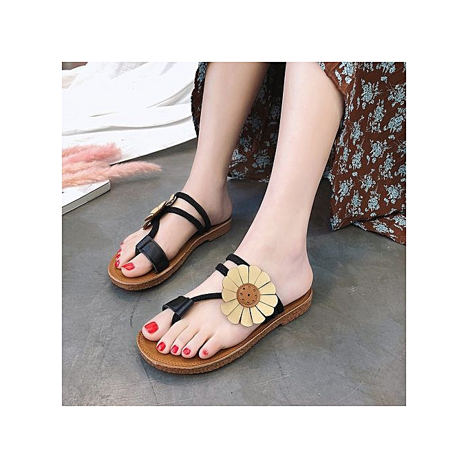 33353e282c9a5 Xingbiaocao Fashion Women Flower Flat Heel Anti Skidding Beach Shoes  Sandals Slipper Black -Black