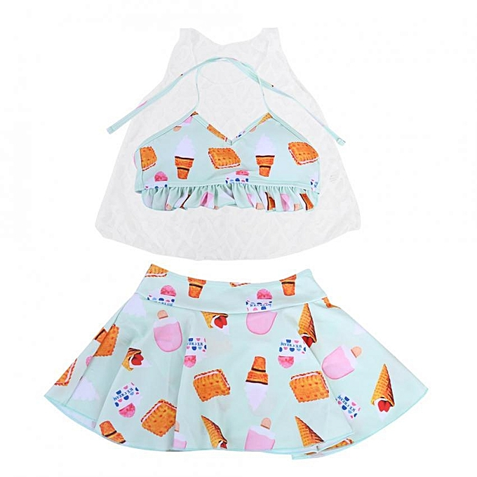 Buy Generic 3pcs Kids Girls Swimsuit Set Bikini Vest Swimwear