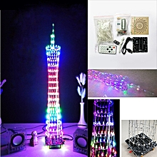 DIY Bluetooth Canton Tower LED Light Cube Kit Remote Control Music Spectrum Electronic Kit Colorful