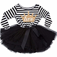 Toddler Baby Girl Striped Number Printing Birthday Long Sleeves TuTu Dress