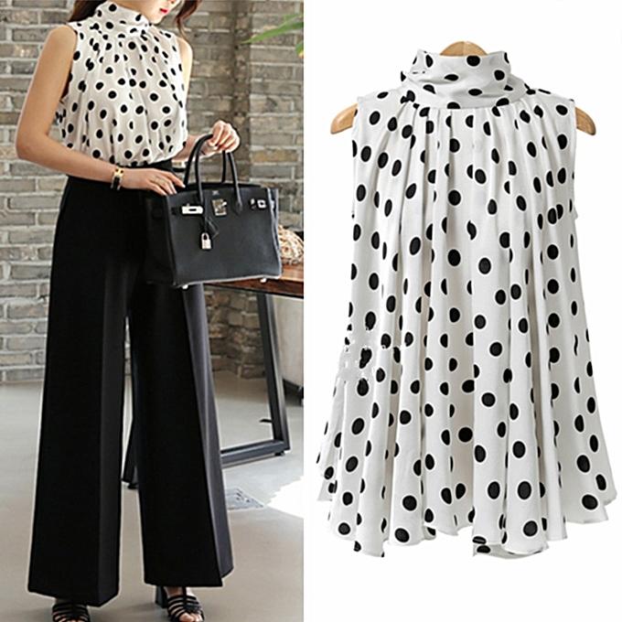 523776e3217e5a Women Plus Size Sleeveless Pullover Top T-Shirt Vest Polka Dot Vintage  Blouse