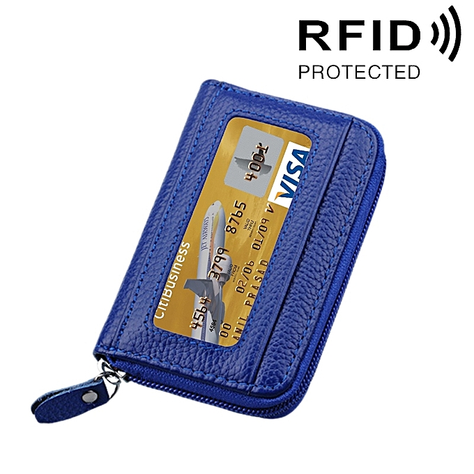 294a4f128f19 Fashion Genuine Cowhide Leather Solid Color Zipper Horizontal Card ...