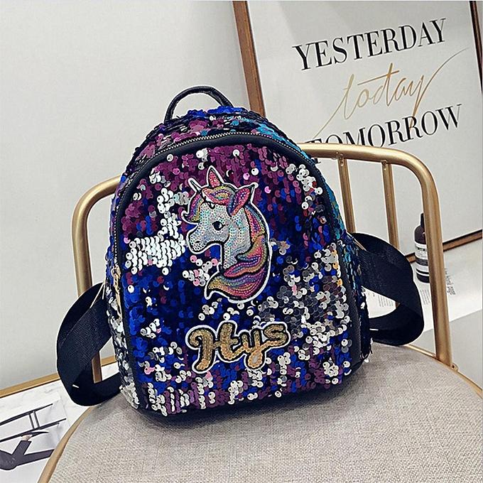 a77b751801 Horse Initial Flip Sequin MINI Backpack Girls School Bag Shoulder Bag  Lunchbox Blue Pink