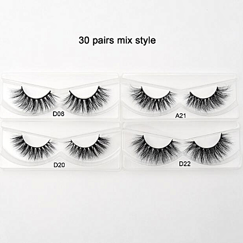 8c60f725df5 Generic 30 pairs/pack 3D Mink Lashes With Tray No Box Hand Made Full Strip Lashes  Mink False Eyelashes Makeup eyelashes cilios(30 pairs mix)