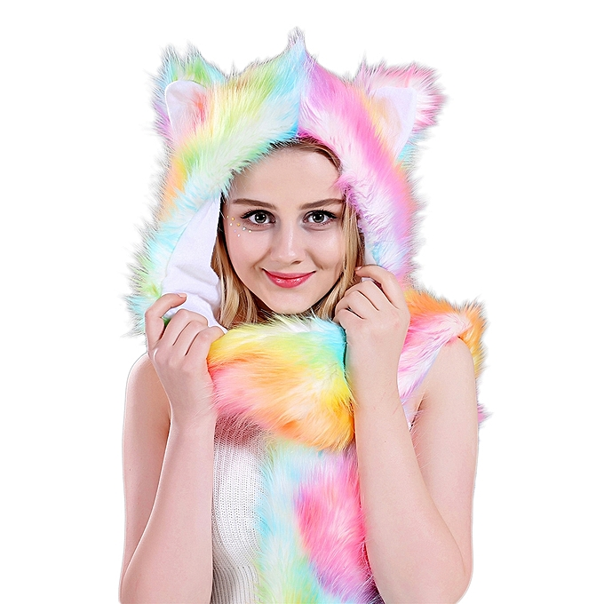 Multicolor Unicorn Faux Fur 3 in 1 Women Fashion Winter Hat Hood Scarf  Mittens-Multicolor 792a4d878ef
