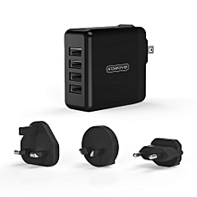 NTONPOWER DSP Plug in 4 Ports USB Charger for Smartphone Tablet Quick 2.4A Charging with EU AU UK Pl