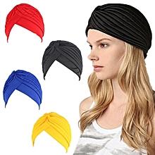 Bandanas Headband Stretchy Turban Muslim Hat Headband Wrap Chemo Hijab Knotted Indian Cap Adult Headband for Women