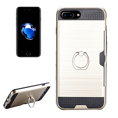 size 40 16498 54d13 For iPhone 7 Plus Texture Metal Protective Back Case with Ring Holder Stand  and Card Slot(Gold)