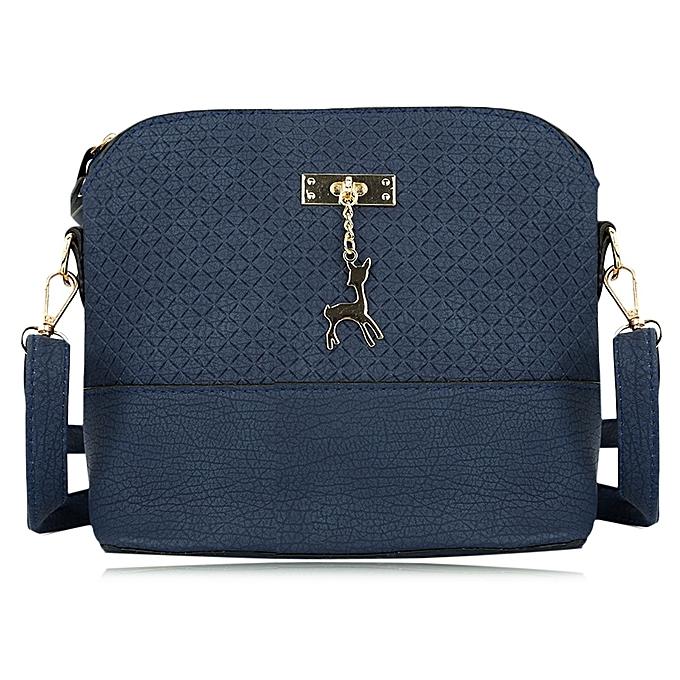 2ed357f171 Guapabien Stylish Plaid Pattern Small Deer Pendant Shell Shoulder Handbag  for Ladies - blue