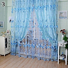 Floral Tulle Voile Door Window Curtain Drape Panel Sheer Scarf Valances Divider (Blue)